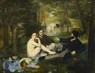 Sitting Painting - Luncheon On The Grass by Edouard Manet