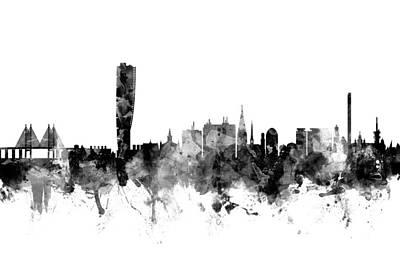 Malmo Digital Art - Malmo Sweden Skyline by Michael Tompsett