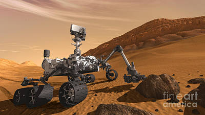 Mars Rover Curiosity, Artists Rendering Print by NASA/Science Source