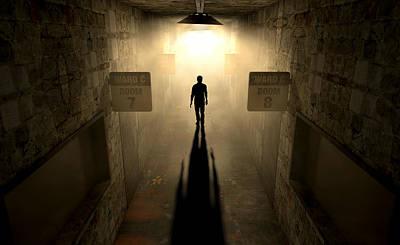 Mental Digital Art - Mental Asylum With Ghostly Figure by Allan Swart