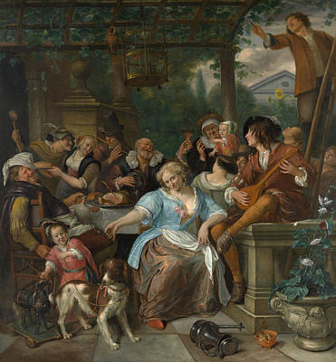 Puppies Painting - Merry Company On A Terrace by Jan Steen