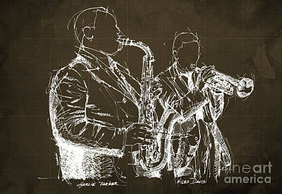 Musicos Painting - Miles Davis And Charlie Parker On Stage, Original Sketch by Pablo Franchi