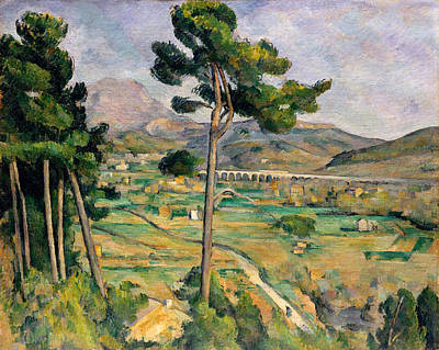 Construction Painting - Mont Sainte-victoire And The Viaduct Of The Arc River Valley by Paul Cezanne