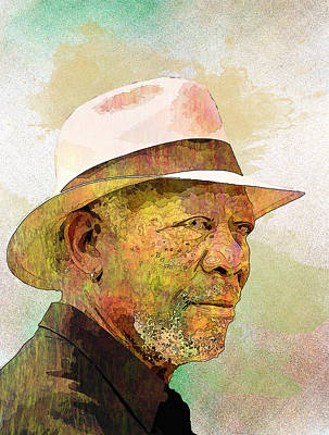 Morgan Freeman Print by Elena Kosvincheva
