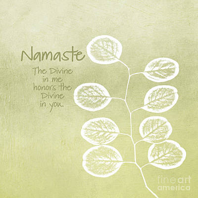 Leaf Mixed Media - Namaste by Linda Woods