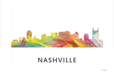Downtown Nashville Digital Art - Nashville Tennessee Skyline by Marlene Watson