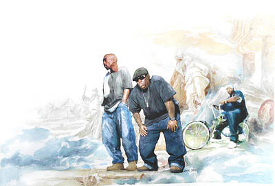 Beverly Hills Drawing - Nate, Biggie, 2pac / Wonder If Heaven Got A Ghetto by Jani Heinonen