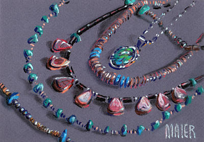 Turquoise Drawing - Navajo Jewelry by Donald Maier