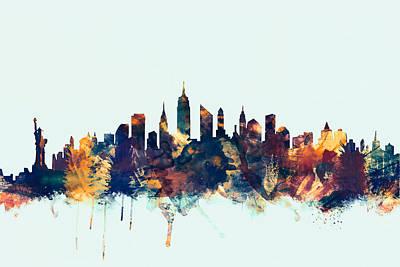 New York Digital Art - New York City Skyline by Michael Tompsett