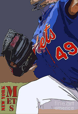 Oriole Digital Art - New York Mets Baseball Team And New Typography by Pablo Franchi