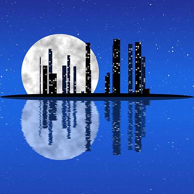 Mirror Imaging Digital Art - Night Cityscape Generated Texture by Miroslav Nemecek