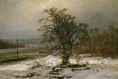 Johan Christian Dahl Painting - Oak Tree By The Elbe In Winter by Johan Christian Dahl