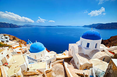 Place Photograph - Oia Town On Santorini Island by Michal Bednarek