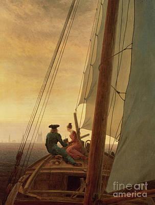 On Board A Sailing Ship Print by Caspar David Friedrich