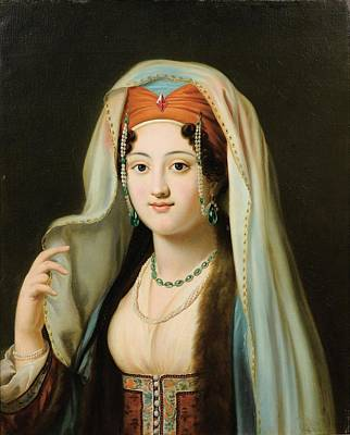 Paris Young Woman In Traditional Dress Ottoman Print by Charles Francis