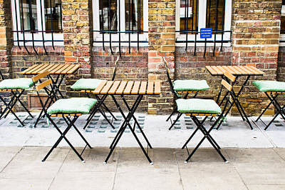 Empty Chairs Photograph - Pavement Cafe by Tom Gowanlock