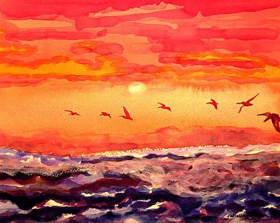 Painting - Pelican Sunrise by Julianne Felton