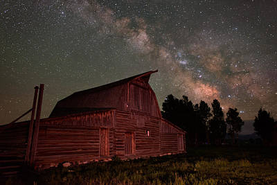Night Workshop Photograph - 2 Percent Milk At The Moulton Barn by Mike Berenson