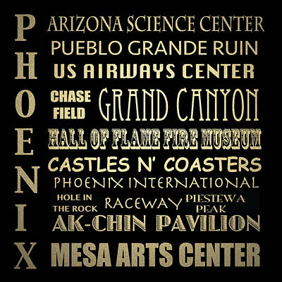 Urban Canyon Digital Art - Phoenix Famous Landmarks by Patricia Lintner