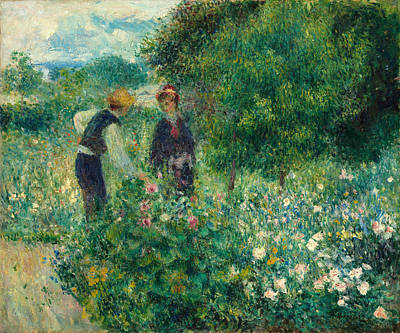 Grey Clouds Photograph - Picking Flowers by Pierre-auguste Renoir
