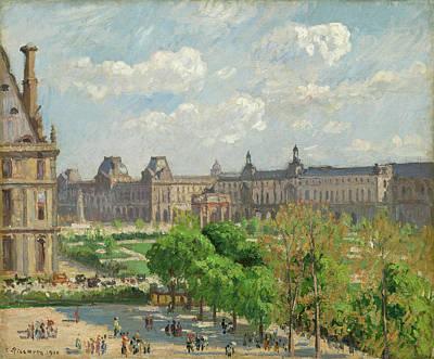 Townscape Painting - Place Du Carrousel, Paris by Camille Pissarro