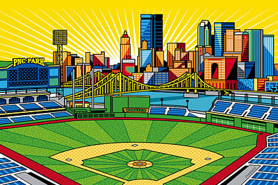 Baseball Art Digital Art - Pnc Park Gold Sky by Ron Magnes