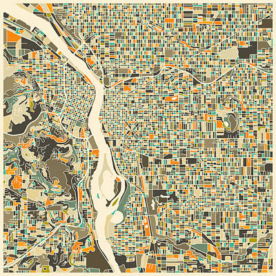 Portland Digital Art - Portland Map by Jazzberry Blue