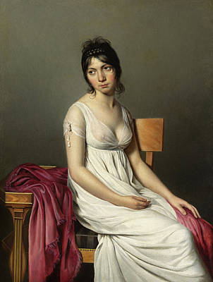 Breast Painting - Portrait Of A Young Woman In White by Jacques-Louis David