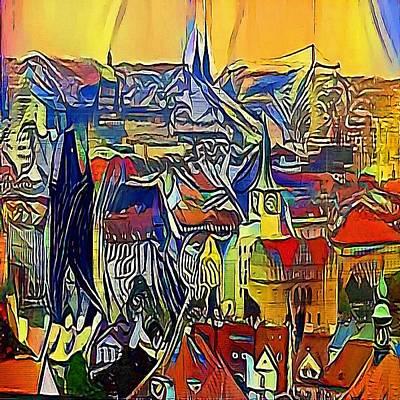 Praha Drawing - Prague Church - My Www Vikinek-art.com by Viktor Lebeda