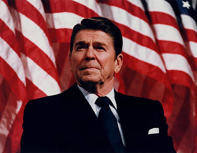 Us Flag Painting - President Ronald Reagan by War Is Hell Store