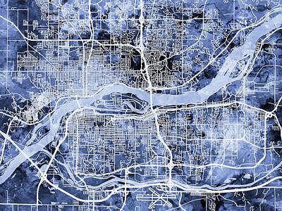 Quad Cities Street Map Print by Michael Tompsett