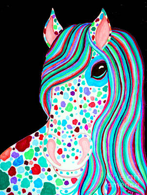 Rainbow Spotted Horse Print by Nick Gustafson