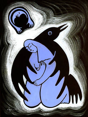 Sadness Painting - Raven Holds Me When I Weep by Angela Treat Lyon