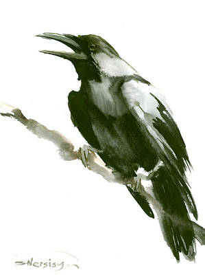 Crow Drawing - Raven by Suren Nersisyan