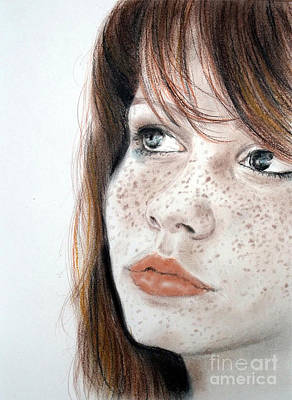 Red Hair And Freckled Beauty Print by Jim Fitzpatrick
