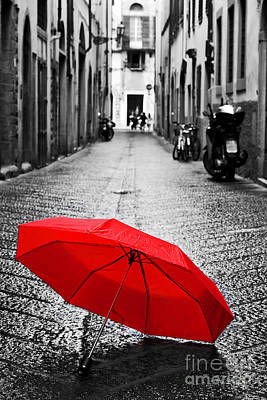 Rainy Photograph - Red Umbrella On Cobblestone Street In The Old Town by Michal Bednarek