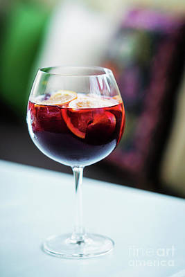 Red Wine Spanish Famous Traditional Sangria Gourmet Cocktail Dri Print by Jacek Malipan