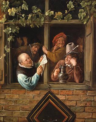 Window Painting - Rhetoricians At A Window by Jan Steen