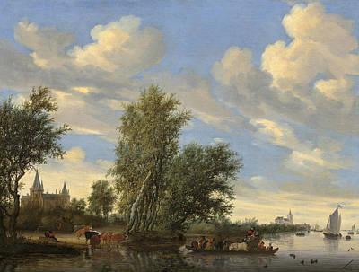 River Landscape With Ferry Print by Salomon Van Ruysdael
