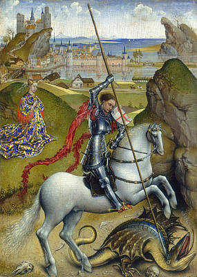 Saint George Painting - Saint George And The Dragon by Rogier van der Weyden