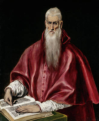 Spain Painting - Saint Jerome As Scholar by El Greco