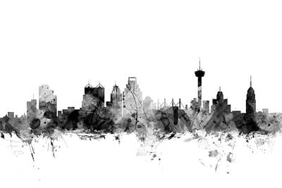 Silhouette Digital Art - San Antonio Texas Skyline by Michael Tompsett
