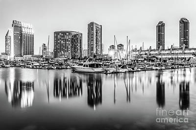 San Diego Embarcadero Park Photograph - San Diego Marina At Night With Luxury Yachts by Paul Velgos