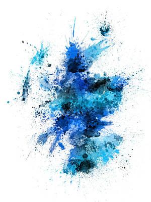 Scottish Digital Art - Scotland Paint Splashes Map by Michael Tompsett