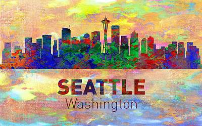 Memphis Digital Art - Seattle Skyline - Usa City by Michael Vicin