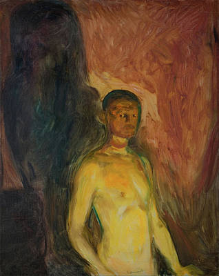 Self-portrait In Hell Print by Edvard Munch