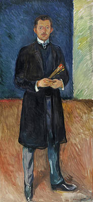 Self Portrait Painting - Self-portrait With Brushes by Edvard Munch