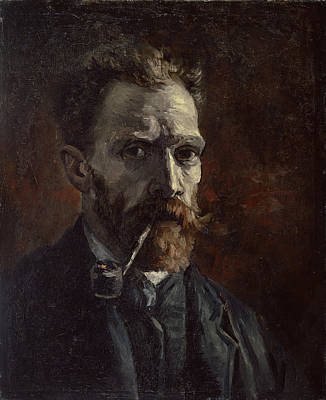Sel Portrait Painting - Self-portrait With Pipe by Vincent van Gogh