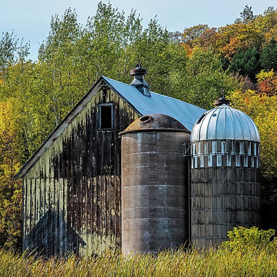 Vintage Quilt Photograph - 2 Silos And A Barn by Paul Freidlund