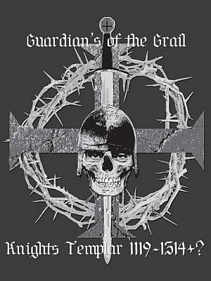 Smiling Skull Print by Knights Templar Art